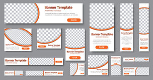 Templates web banners in standard sizes with space for photo stock illustration