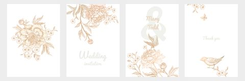 Vintage greeting card with birds and flowers set. Templates of wedding invitations set. Decoration with birds and garden flowers by peonies. Floral vector royalty free illustration