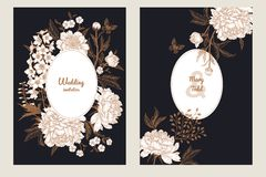Vintage greeting card with butterfly and flowers set. Templates of wedding invitations set. Decoration with butterfly and garden flowers delphinium and peonies Royalty Free Stock Photography