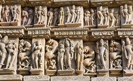 Temple érotique célèbre dans Khajuraho, Inde photos libres de droits