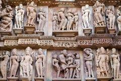 Temple érotique célèbre dans Khajuraho, Inde images stock