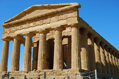 Temple. Due to its good state of preservation, the Temple of Concordia, in the Valley of Temples in Agrigento, is ranked amongst the most notable edifices of the Royalty Free Stock Images