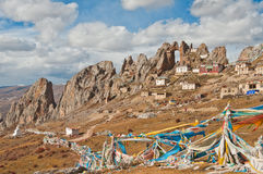 Temple. The temples was built on the steep rocks at the  top of Mt.Tsedrug above 4700 meters Royalty Free Stock Images