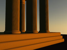 Temple. Columns at sunset light, 3d render Stock Images