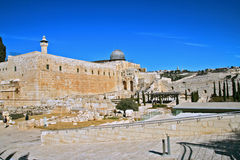 At the Temple. Temple mountain, Gold dome of the Sacred temple in Jerusalem Royalty Free Stock Photo