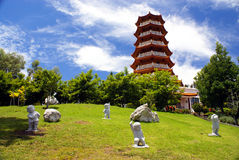 Temple. Buddhistic temple with statues of exercising men Royalty Free Stock Photography