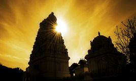 Temple. Rays from the sun makes the temple to become dark Stock Photography