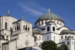 Temple. St.Sava temple in Belgrade. White marble walls and blue sky Stock Photography