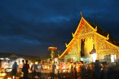 Thailand Temple on festival Royalty Free Stock Photography