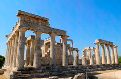 The temple. Of Apollo on Aegina island, Greece Royalty Free Stock Photos