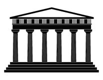 Temple. Detailed outline depicting ancient greek temple on a white background Royalty Free Stock Photos