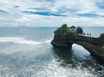 Temple above the sea in Bali Indonesia. Temple at tanah lot Bali Indonesia Stock Photo