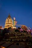 Temple allumé pendant l'année neuve chinoise Photo libre de droits