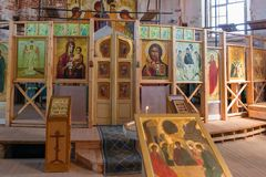 Temple altar. Internal view of the temple. Holy Trinity Anzersky skete of the Solovki monastery on the Anzersky island, Solovki islands, Arkhangelsk region stock photo