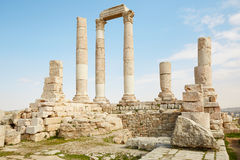 Temple on the Amman citadel, Jordan Stock Photography