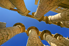Temple of Amun at Karnak. Egypt. Karnak Temple Complex - the Precinct of Amun-Re. Massive columns of the Great Hypostyle Hall Stock Photo