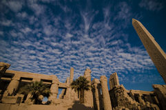 Temple of Amun, Karnak Temple, Egypt. Temple of Amun, Karnak Temple under blue sky and white clouds, Egypt Stock Image