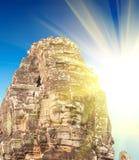 Temple Angkor, Cambodge de Bayon de coucher du soleil de ressort images stock