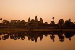Temple of Angkor Wat at sunset, Cambodia. Royalty Free Stock Photo