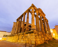 Temple antique dans l'aube Mérida, Espagne Images libres de droits