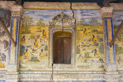 Temple with antique painting about law of karma since year 1928 Stock Image