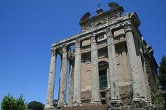 Temple of Antoninus and Faustina. The ancient Temple of Antoninus and Faustina inside the Roman Forum in Rome, Italy Stock Photography