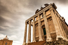The Temple of Antoninus and Faustina in the Roman Forum Stock Photos