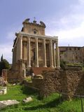Temple of Antoninus and Faustina. The temple was converted to a Roman Catholic church, known as San Lorenzo in Miranda at the Roman Forum Stock Photography
