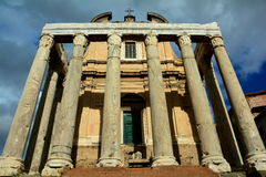 The Temple of Antonius Pius and Faustina Stock Image