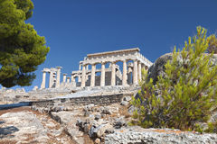 Temple of Aphaea at Aegina, Greece. Classical ancient temple of Aphaea Athina at Aegina island in Greece Stock Image