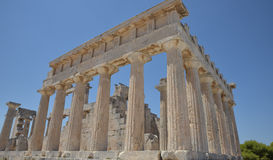 Temple of Aphaea. Aegina Island Greece. The ancient temple of Aphaea on the island of Aegina near Athens in Greece Stock Photos