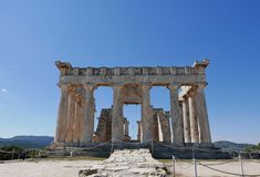 Temple of Aphaea. The Temple of Aphaia or Afea is located within a sanctuary complex dedicated to the goddess Aphaia on the Greek island of Aigina Stock Photo