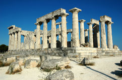 Temple of Aphaea (Britomartis). On Aegina island, Greece stock image