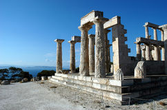 Temple of Aphaea (Britomartis). On Aegina island, Greece stock photos