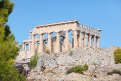 Temple of Aphaia, Aegina. A view of the Doric temple of Aphaea on Aegina island in the Saronic Gulf, south of Athens. Aphaia appears to have been derived from a Stock Photo