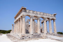 Temple of Aphaia in Aegina. A view of the Doric temple of Aphaea on Aegina island in the Saronic Gulf, south of Athens. Aphaia appears to have been derived from Royalty Free Stock Photography