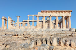 Temple of Aphaia side view. A side view of the Doric temple of Aphaia on Aegina island in the Saronic Gulf, south of Athens. Aphaia appears to have been derived Royalty Free Stock Images