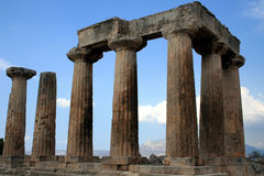 The Temple Of Apollo. In Ancient Corinth stock image