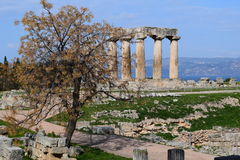 Temple of Apollo, Ancient Corinth. Royalty Free Stock Images