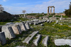 Temple of Apollo, Ancient Corinth. Stock Images