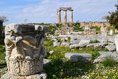 Temple of Apollo, Ancient Corinth. Stock Photography