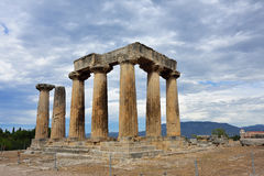 Temple of Apollo in Ancient Corinth Greece Stock Photo