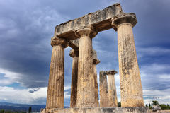 Temple of Apollo in Ancient Corinth Greece Royalty Free Stock Photo