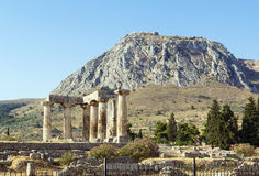 Temple of Apollo in ancient Corinth, Greece Stock Photo