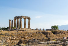 Temple of Apollo in ancient Corinth, Greece Royalty Free Stock Photo