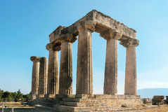 Temple of Apollo in ancient Corinth, Greece Stock Photos