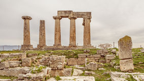 Temple of Apollo in Ancient Corinth, Greece Royalty Free Stock Photos