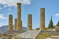 The Temple of Apollo in Ancient Greek archaeological site of Delphi Royalty Free Stock Photo