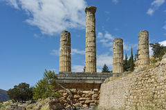 The Temple of Apollo in Ancient Greek archaeological site of Delphi Stock Images