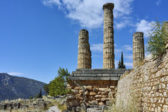 The Temple of Apollo in Ancient Greek archaeological site of Delphi, Greece Royalty Free Stock Photos